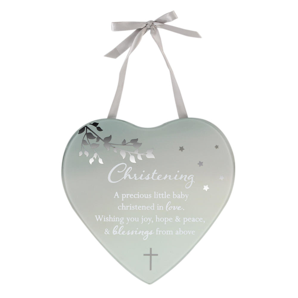 Baby's Christening Reflections From The Heart Mirrored Hanging Plaque