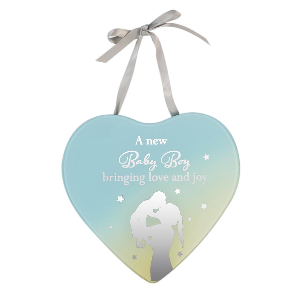 New Baby Boy Reflections From The Heart Mirrored Hanging Plaque