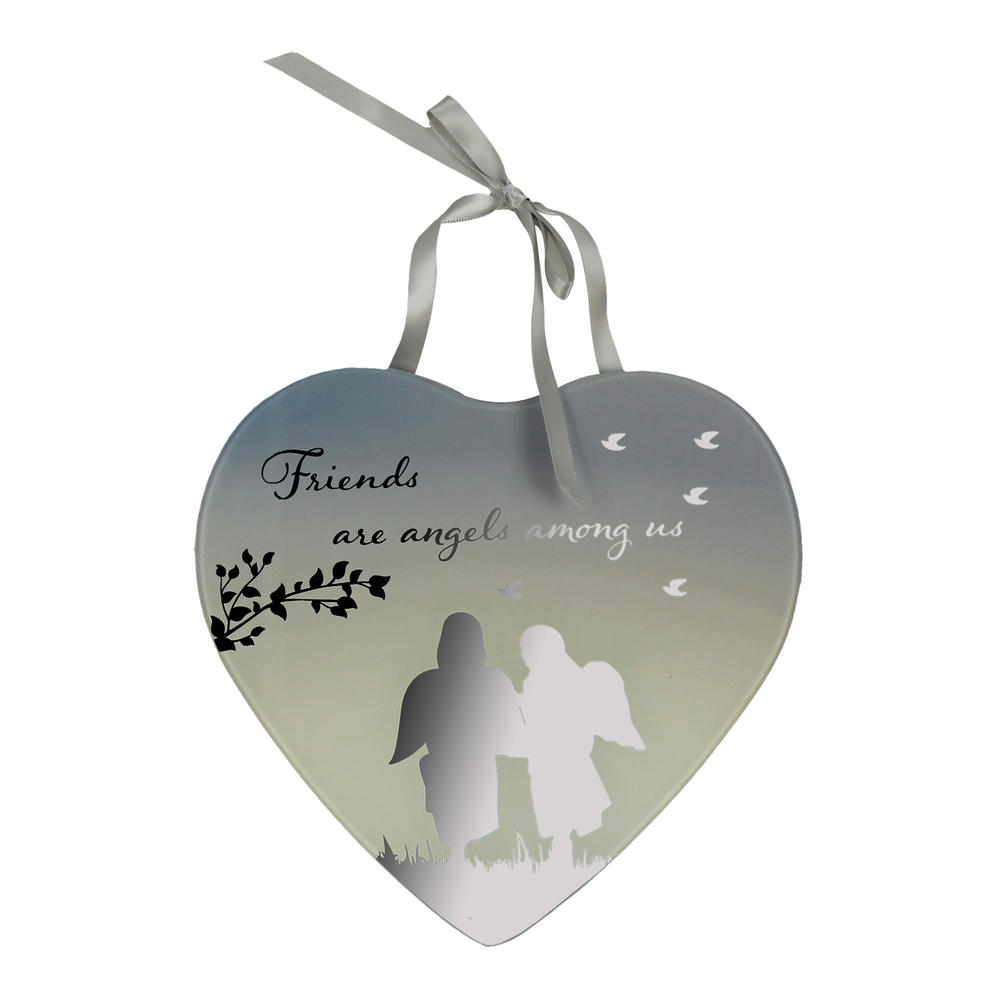 Friends Are Angels Reflections From The Heart Mirrored Hanging Plaque