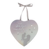 New Baby Girl Reflections From The Heart Mirrored Hanging Plaque