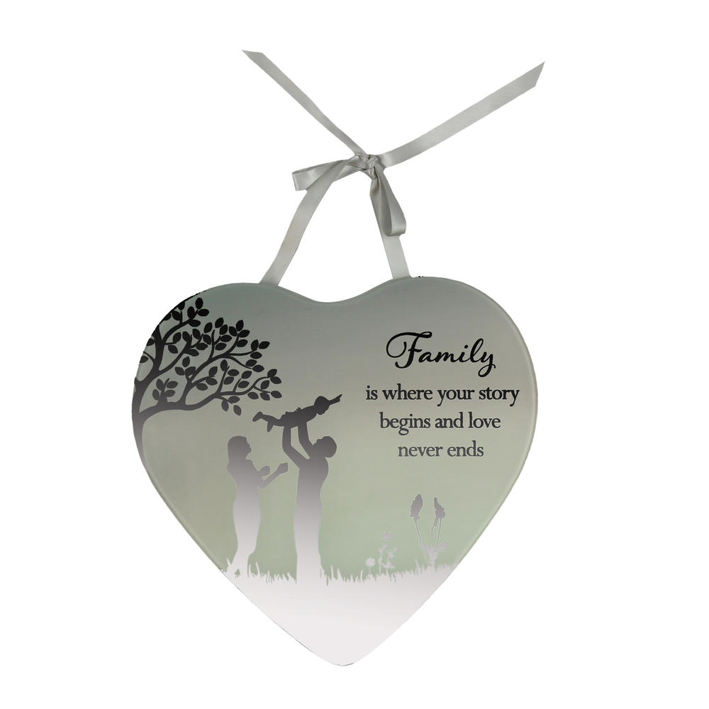 Family Your Story Begins Reflections From The Heart Mirrored Hanging Plaque