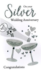 Silver 25th Anniversary Greeting Card