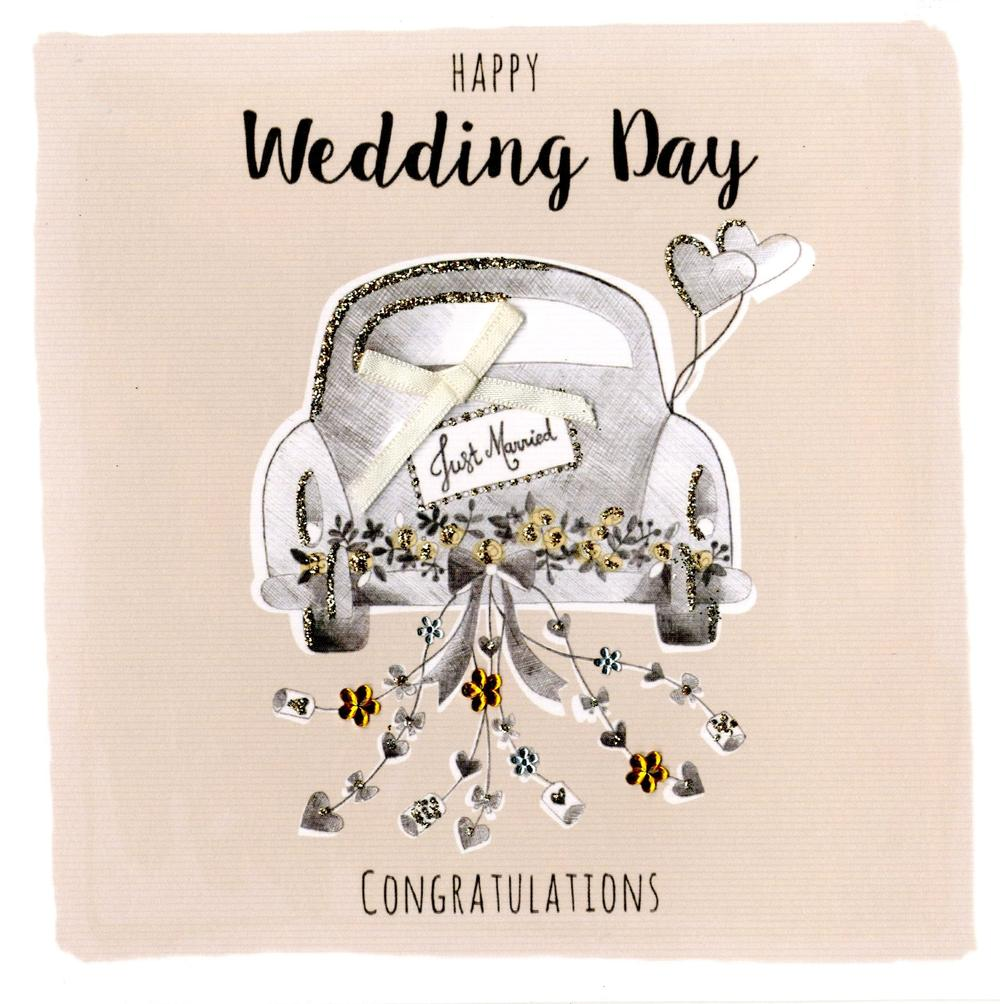 Happy Wedding Day Embellished Greeting Card