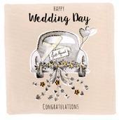 Happy Wedding Day Embellished Greeting Card