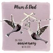 Mum & Dad Anniversary Embellished Greeting Card