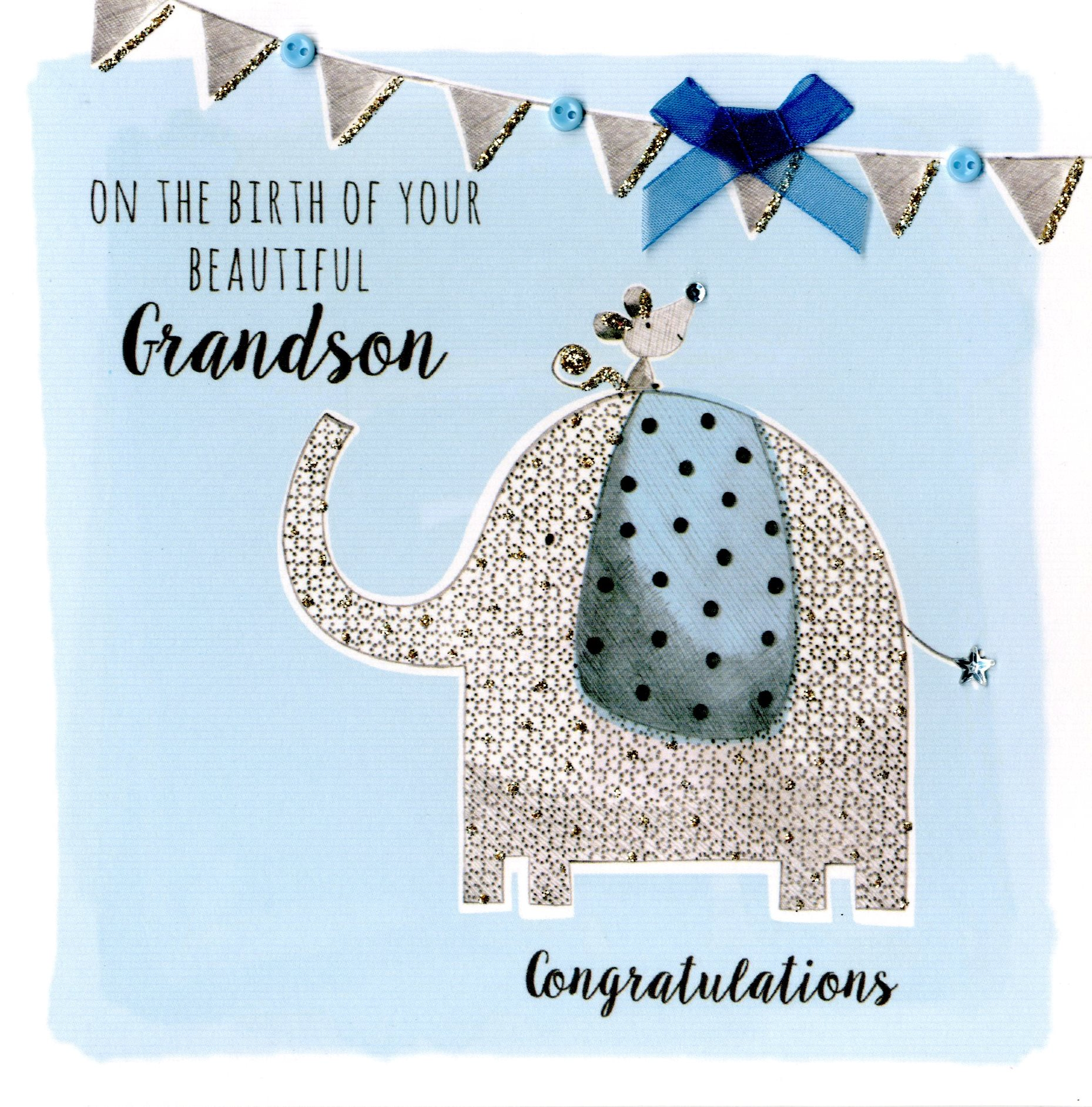 New baby grandson embellished greeting card cards love kates new baby grandson embellished greeting card kristyandbryce Image collections