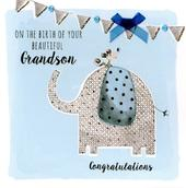 New Baby Grandson Embellished Greeting Card