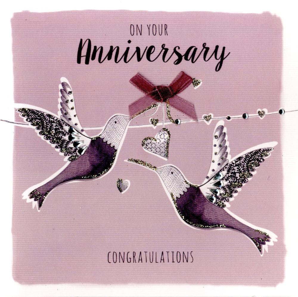 On Your Anniversary Embellished Greeting Card
