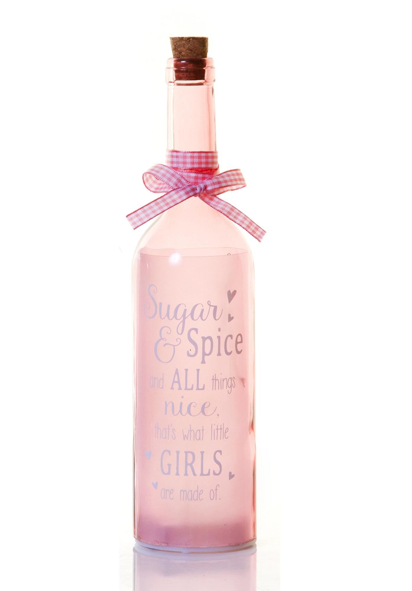 New Baby Girl Starlight Bottle Glass Light Up Message