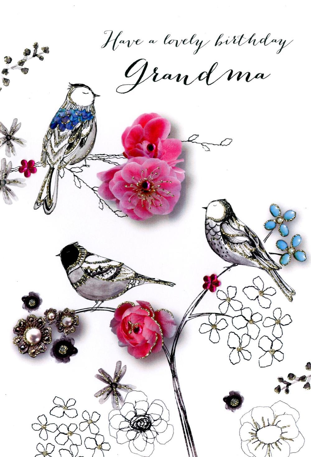Grandma Birthday Embellished Greeting Card