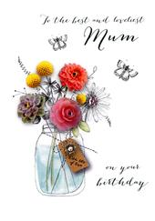 Loveliest Mum Birthday Embellished Greeting Card