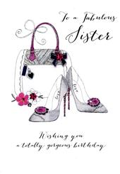 Fabulous Sister Birthday Embellished Greeting Card