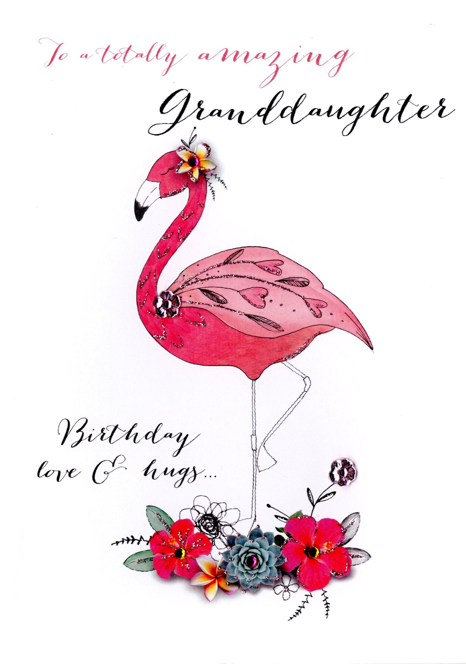 Amazing Granddaughter Birthday Embellished Greeting Card