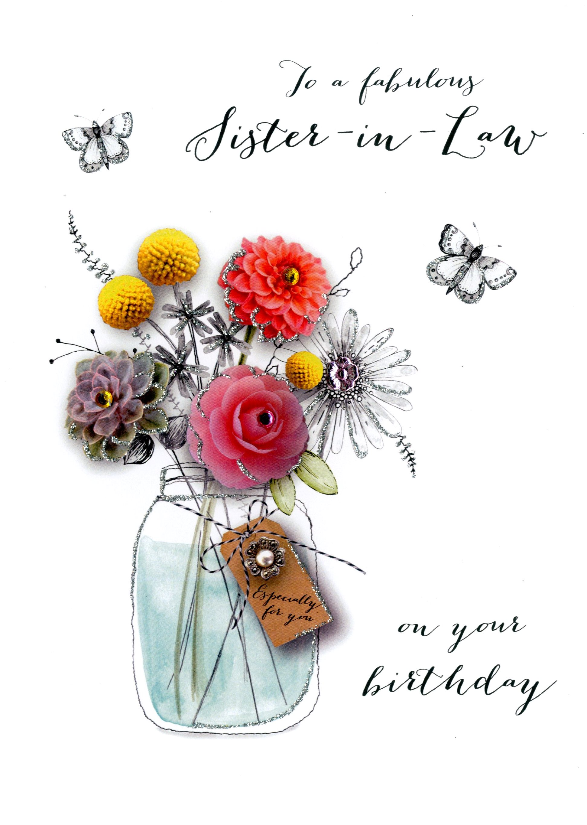 Sister In Law Birthday Embellished Greeting Card