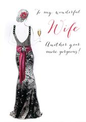 Wonderfull Wife Birthday Embellished Greeting Card