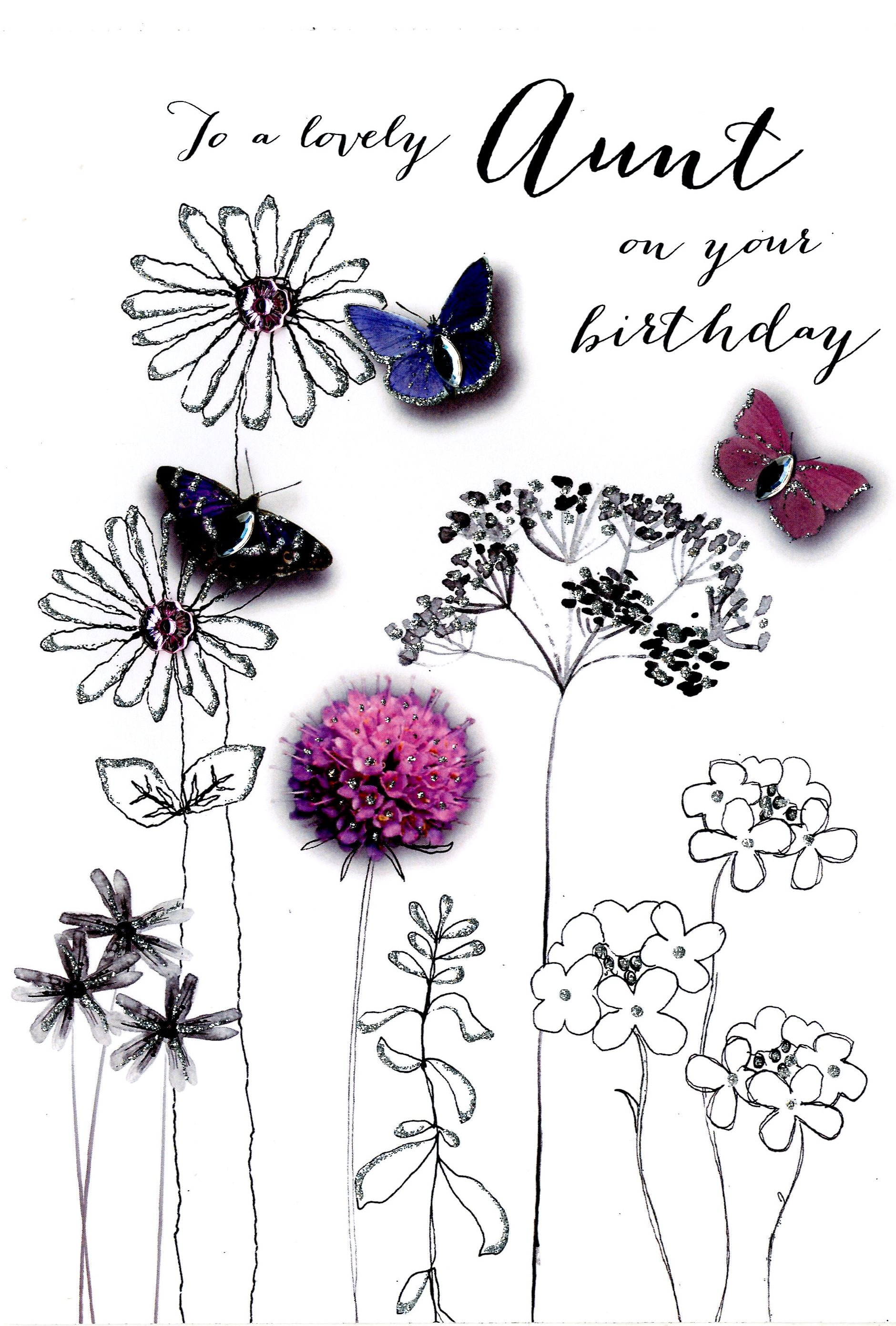 Lovely aunt birthday embellished greeting card cards love kates lovely aunt birthday embellished greeting card kristyandbryce Image collections