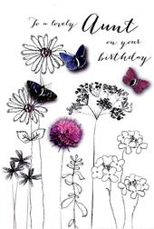 Lovely Aunt Birthday Embellished Greeting Card