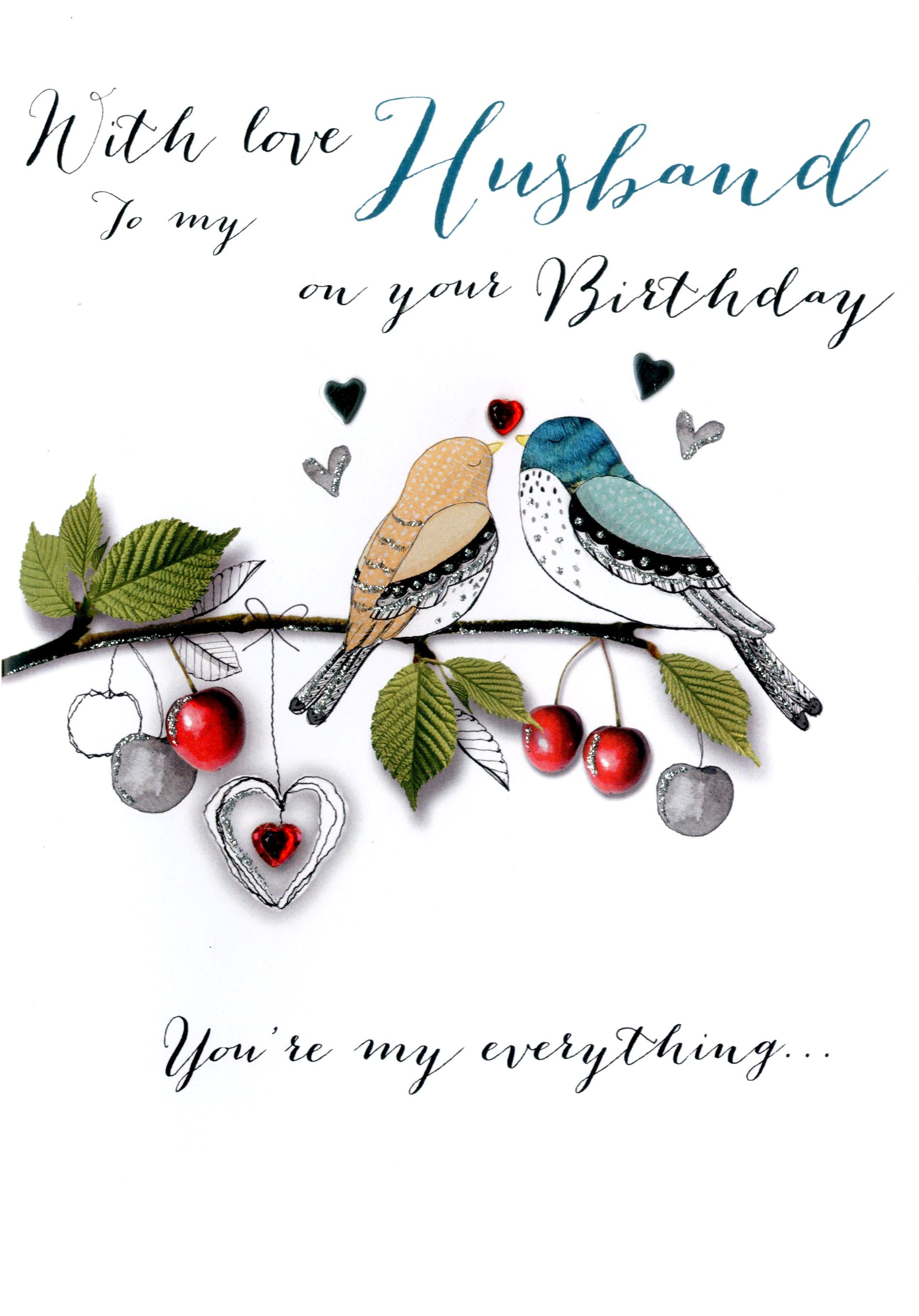 With Love Husband Birthday Embellished Greeting Card   Cards