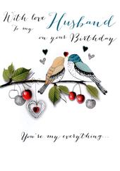With Love Husband Birthday Embellished Greeting Card
