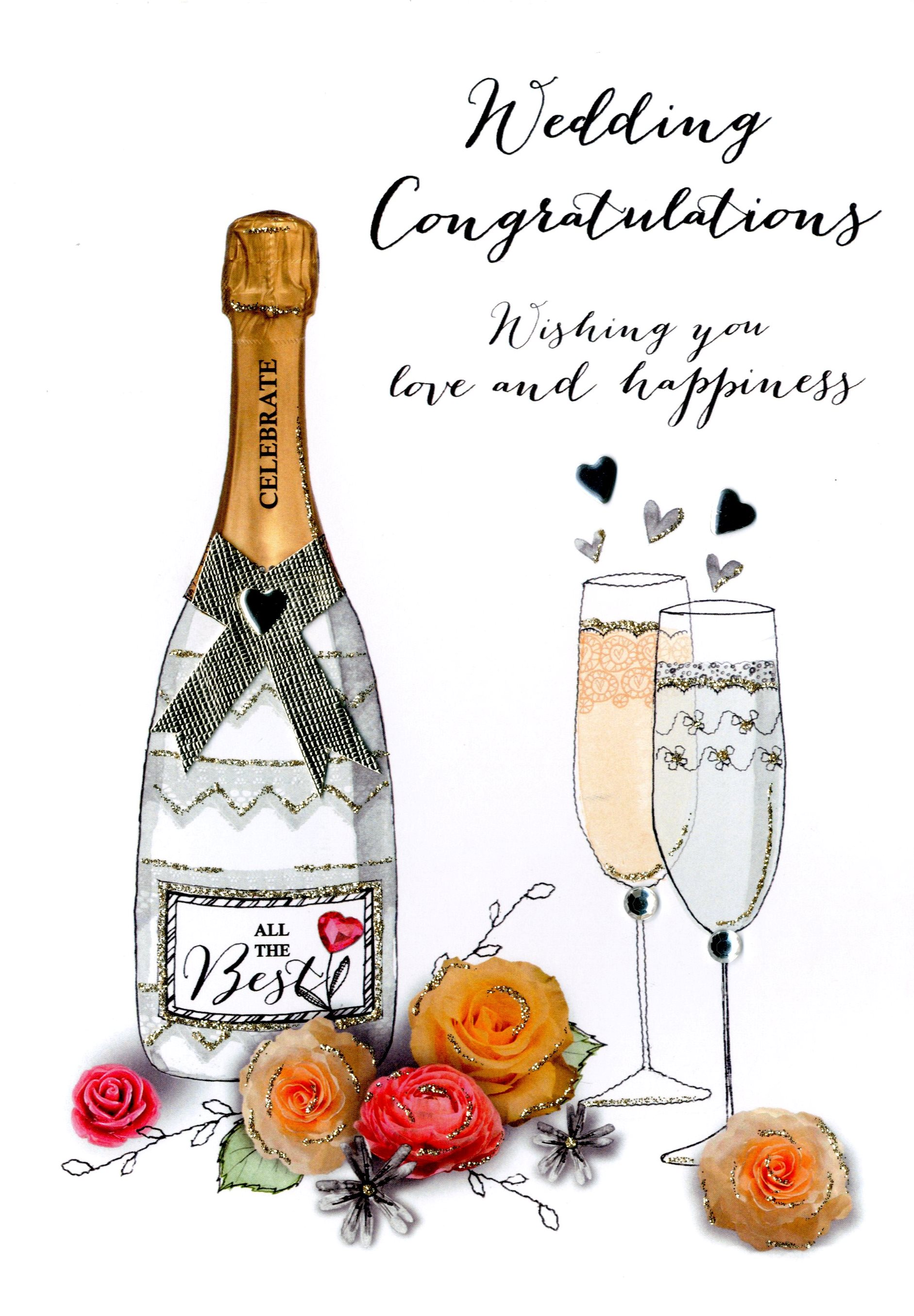 wedding congratulations embellished greeting card  cards