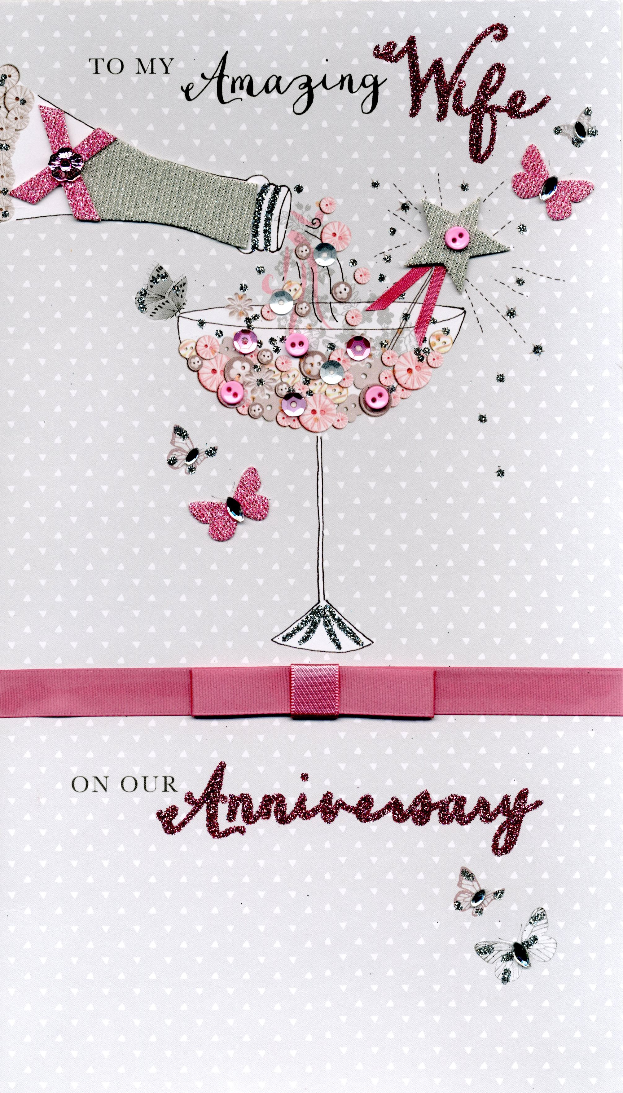 Boxed Amazing Wife Embellished Anniversary Greeting Card Cards