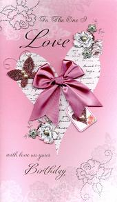Boxed To The One I Love Embellished Birthday Greeting Card