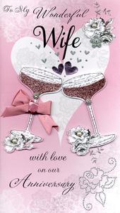 Boxed Wonderful Wife Embellished Anniversary Greeting Card