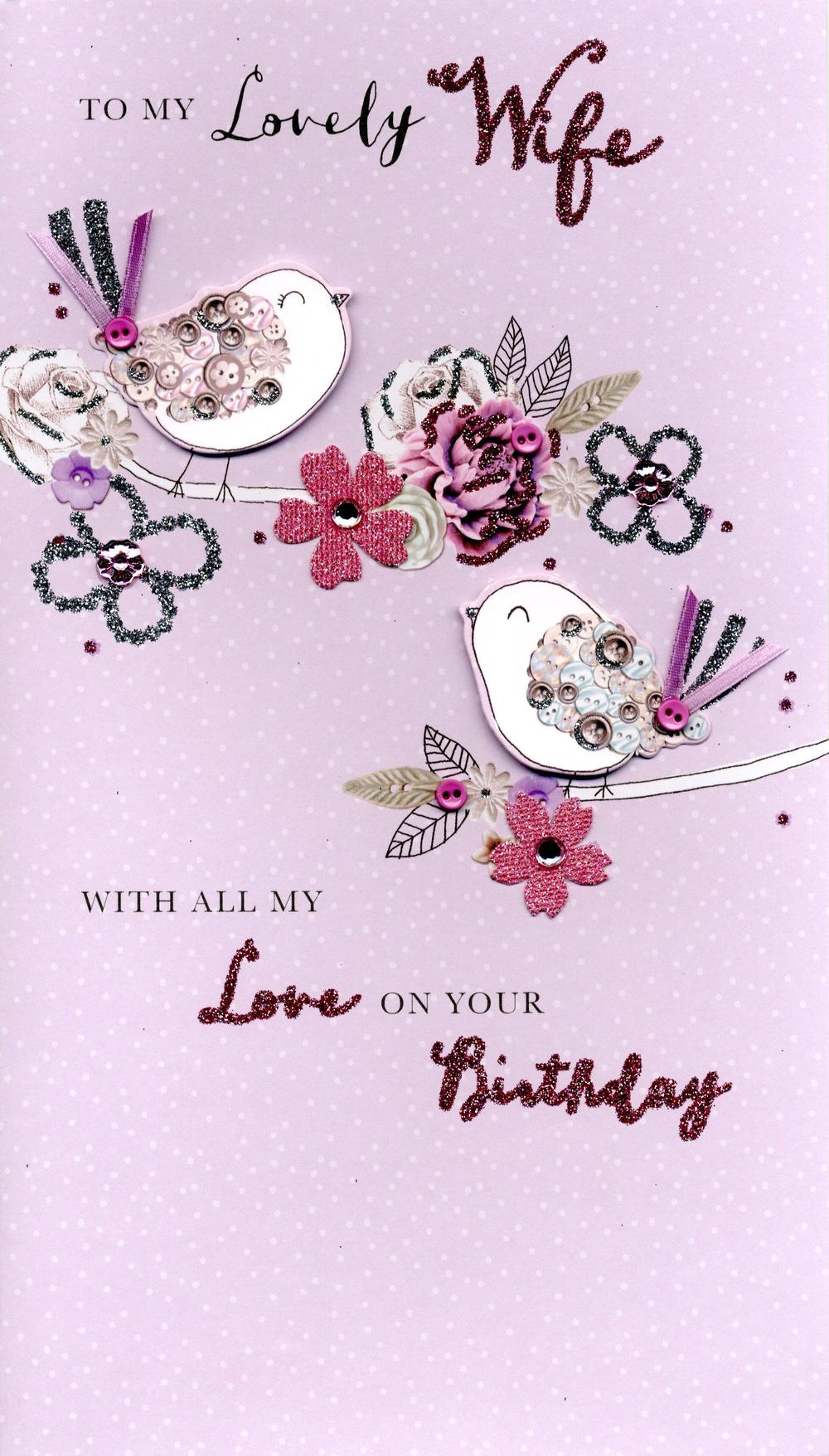 Boxed Lovely Wife Embellished Birthday Greeting Card