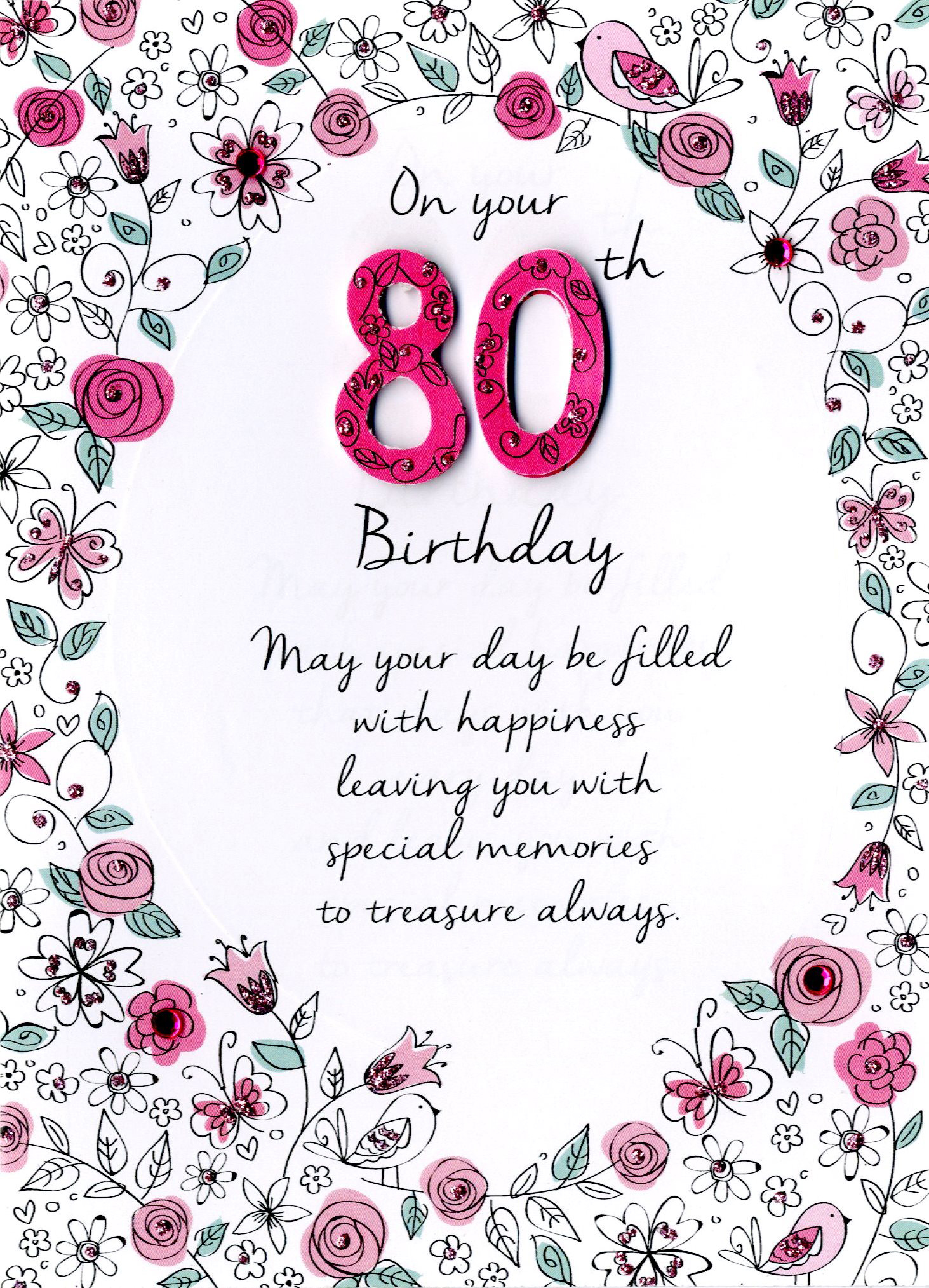 Female 80th Birthday Greeting Card