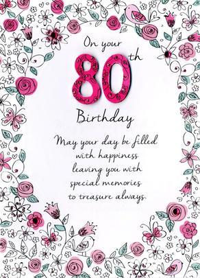 Female 80th Birthday Greeting Card