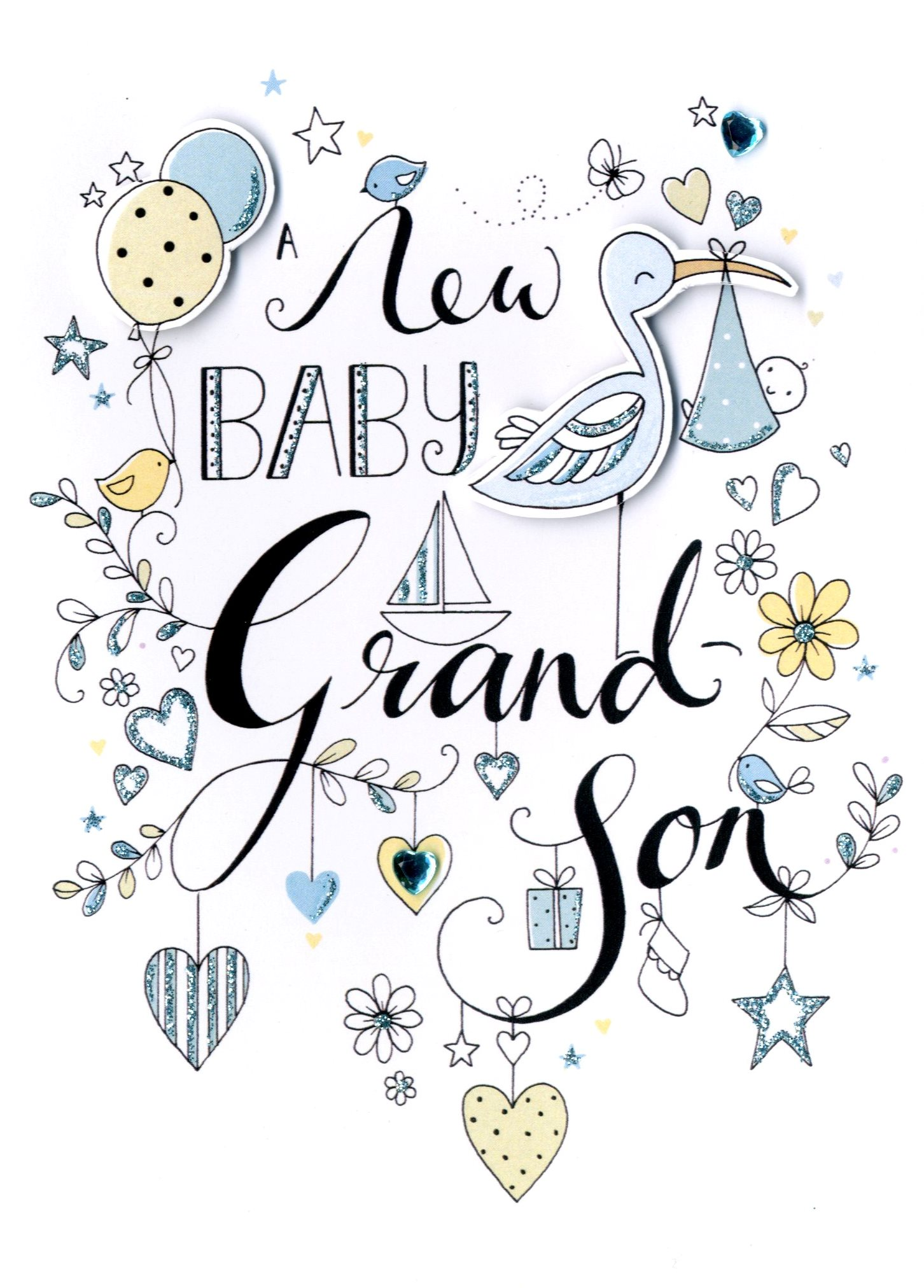 New baby grandson greeting card cards love kates new baby grandson greeting card m4hsunfo
