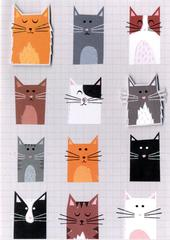 Cats Greeting Card Blank Inside