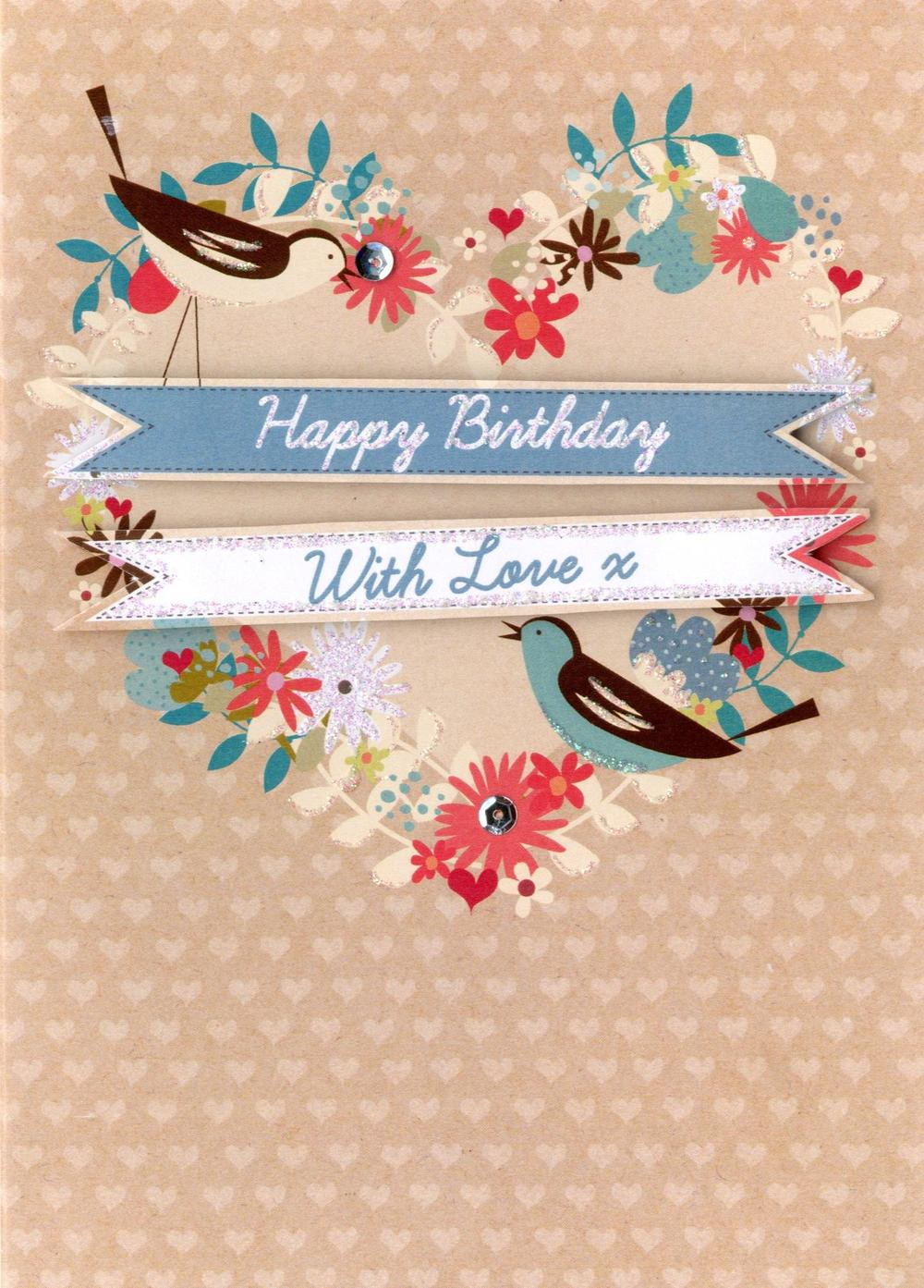 Happy Birthday With Love Greeting Card
