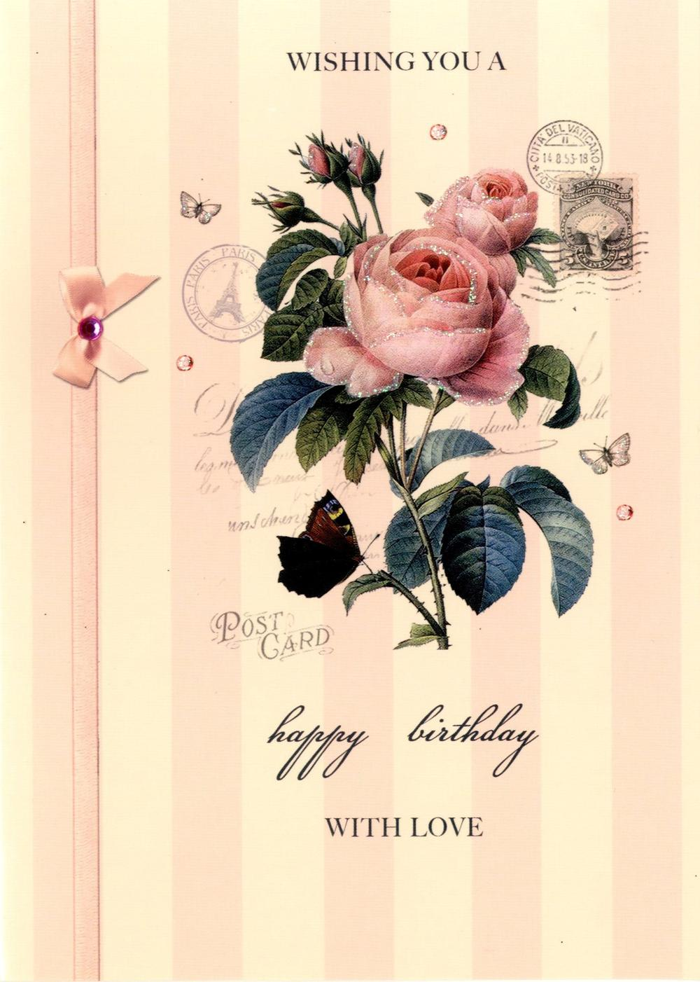 Postcard Paris Birthday Greeting Card