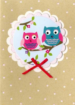 Owls Greeting Card Blank Inside