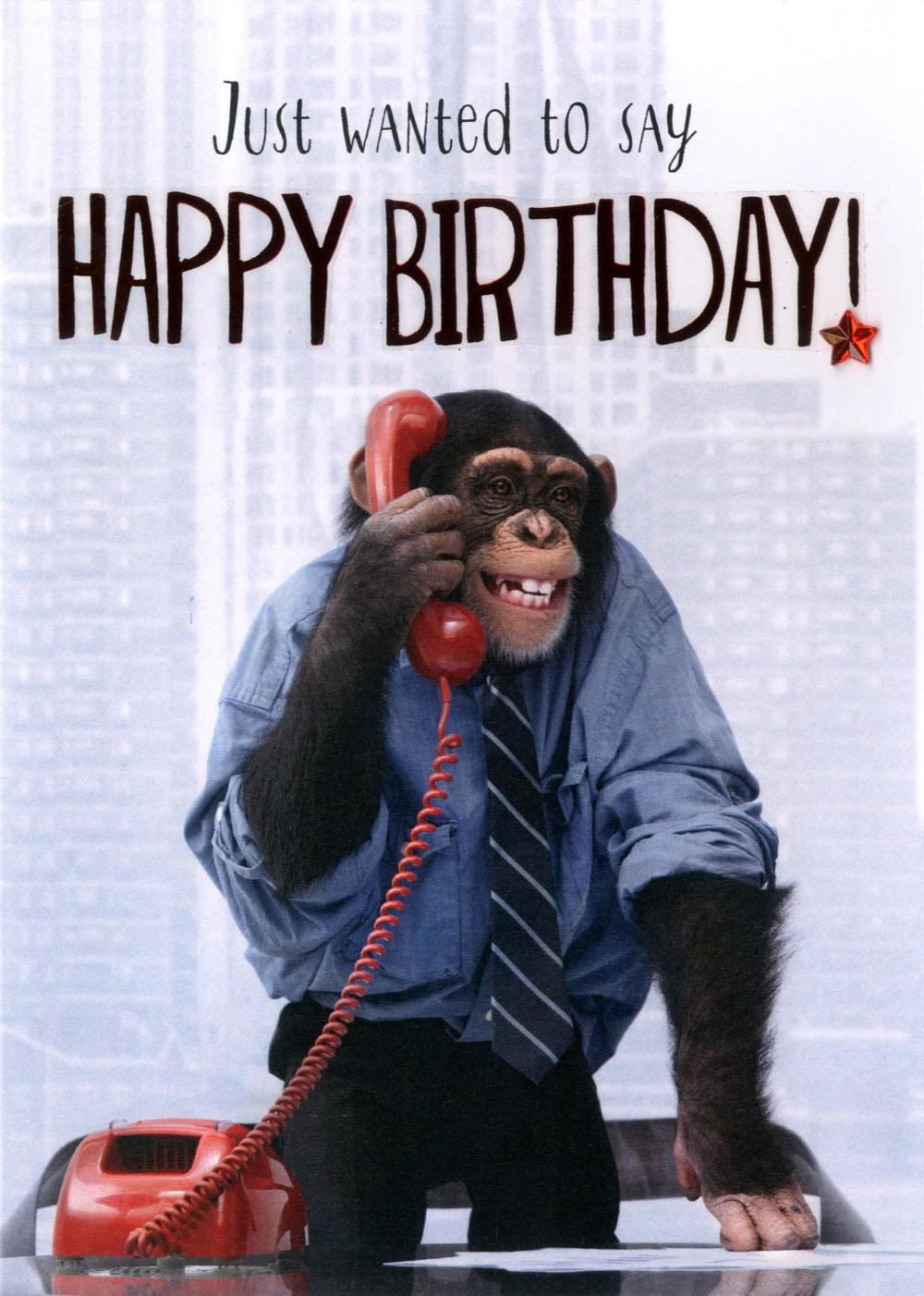 Chimp Happy Birthday Greeting Card