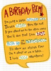 A Birthday Poem Greeting Card