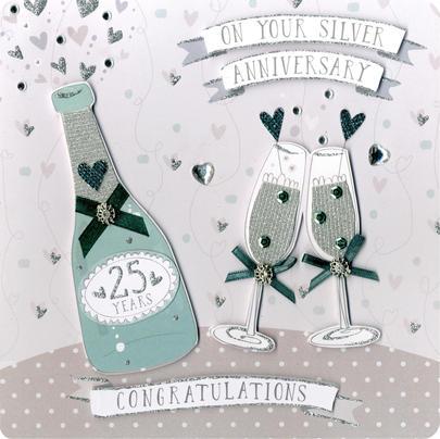 Silver 25th Anniversary Keepsake Card