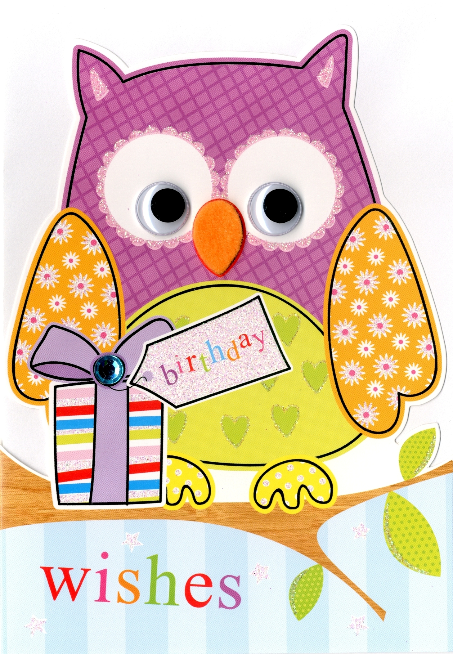 Owl birthday wishes greeting card cards love kates owl birthday wishes greeting card m4hsunfo
