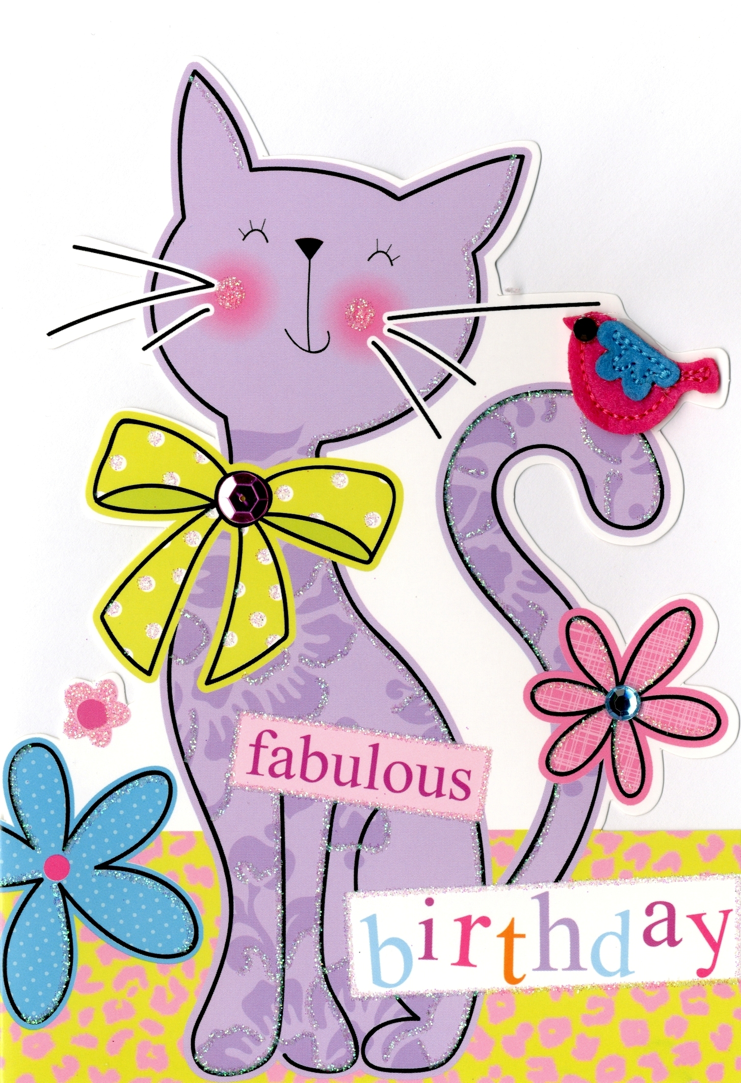 Cat Fabulous Birthday Greeting Card