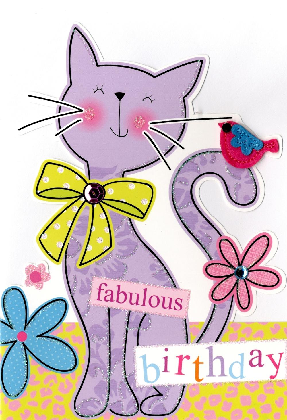 Cat Fabulous Birthday Greeting Card