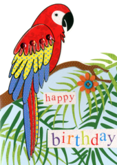 Parrot Happy Birthday Greeting Card