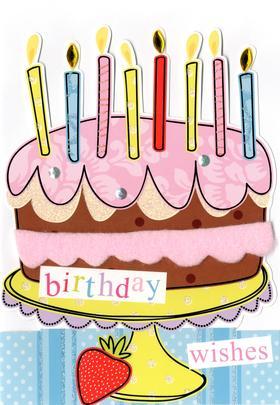 Cake Birthday Wishes Greeting Card
