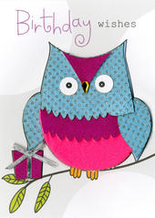 Owl Birthday Wishes Embellished Greeting Card