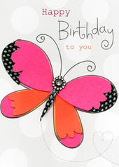 Butterfly Happy Birthday Embellished Greeting Card