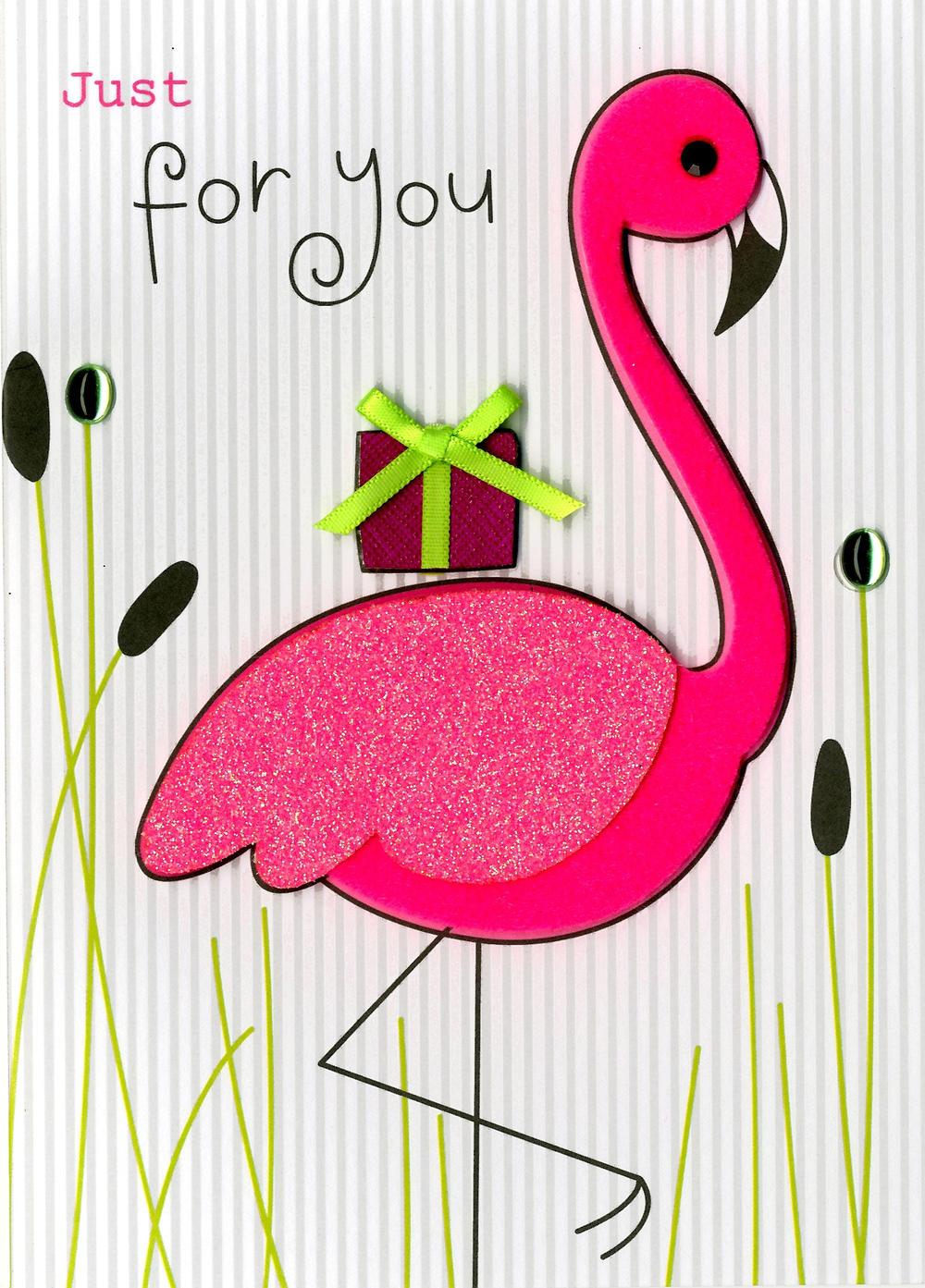 Pink Flamingo Birthday Embellished Greeting Card