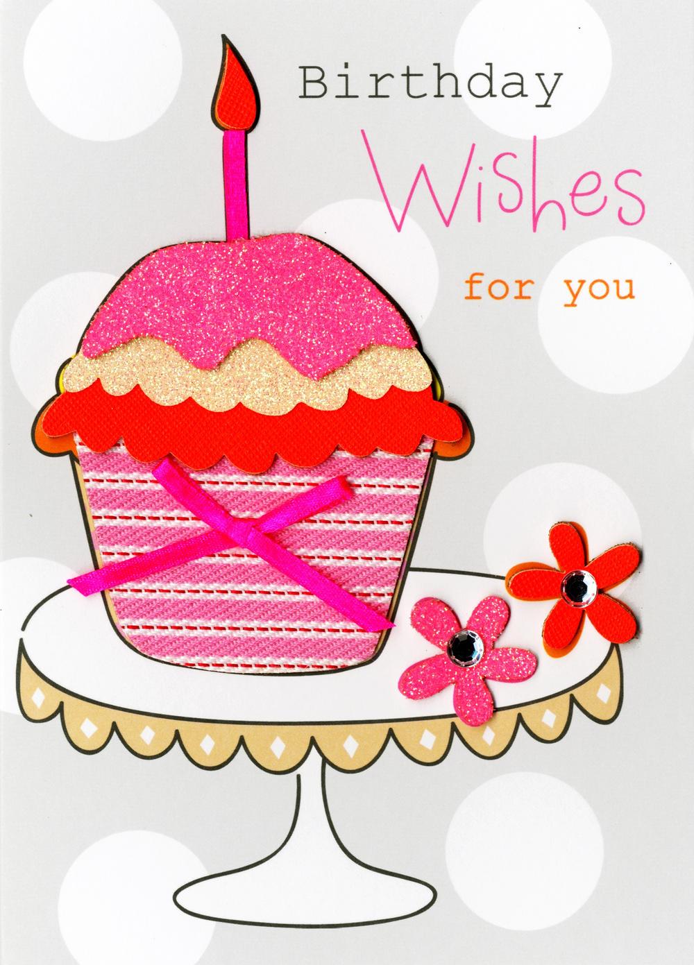 Cupcake Birthday Wishes Embellished Greeting Card