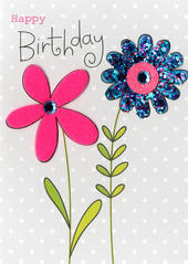 Flowers Happy Birthday Embellished Greeting Card
