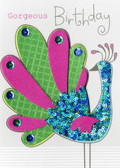 Peacock Birthday Embellished Greeting Card