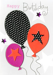 Happy Birthday Balloons Embellished Greeting Card